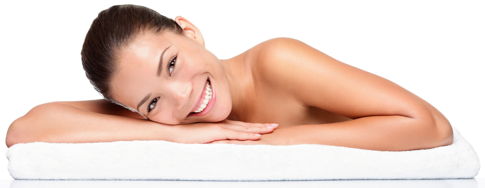 model on towel smiling